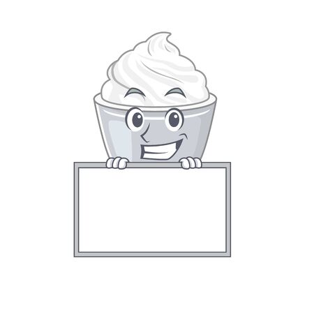 Sour cream cartoon design concept grinning with board. Vector illustration