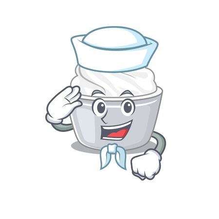 Sour cream cartoon concept Sailor wearing hat. Vector illustration