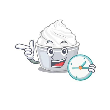 cartoon character concept sour cream having clock. Vector illustration Illusztráció