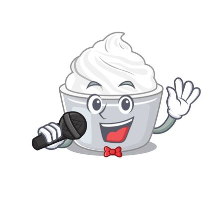 Happy sour cream singing on a microphone. Vector illustration