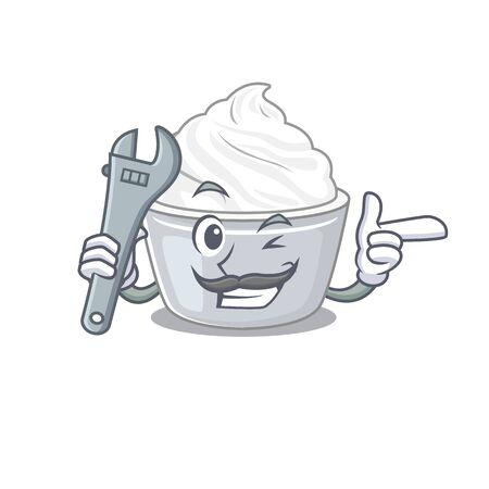 Smart Mechanic sour cream cartoon character design. Vector illustration
