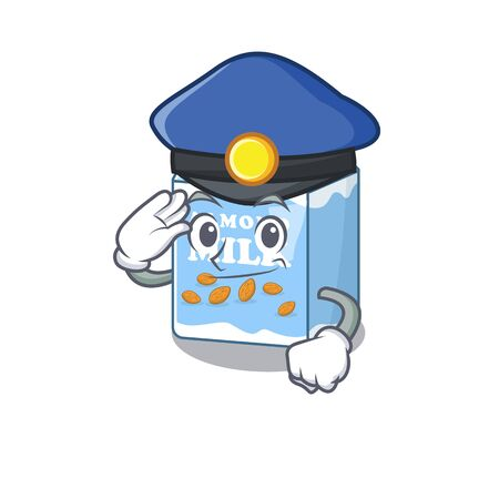 A manly almond milk Cartoon concept working as a Police officer Stock Illustratie