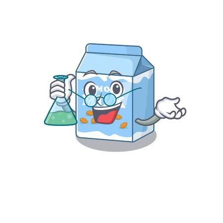 Cool almond milk Professor cartoon character with glass tube