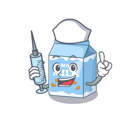 A almond milk hospitable Nurse character with a syringe. Vector illustration