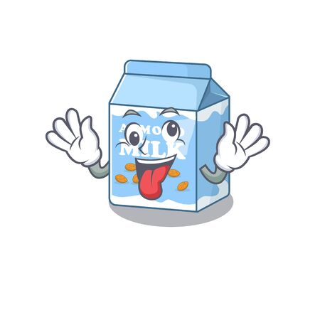 Cute sneaky almond milk Cartoon character with a crazy face Vettoriali