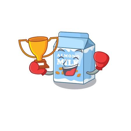 fantastic Boxing winner of almond milk in mascot cartoon design. Vector illustration