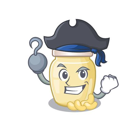 Cute cashew butter mascot design with a hat