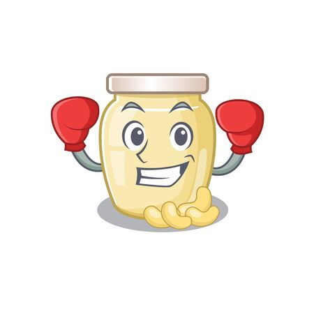 mascot character style of Sporty Boxing cashew butter