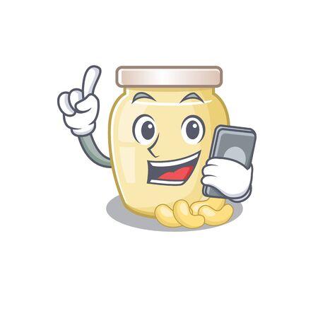 Cashew butter Cartoon design style speaking on a phone. Vector illustration 向量圖像