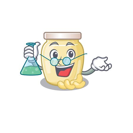 Cool cashew butter Professor cartoon character with glass tube