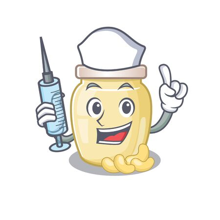 A Cashew butter hospitable Nurse character with a syringe Ilustrace