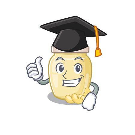 happy and proud of cashew butter wearing a black Graduation hat. Vector illustration 向量圖像