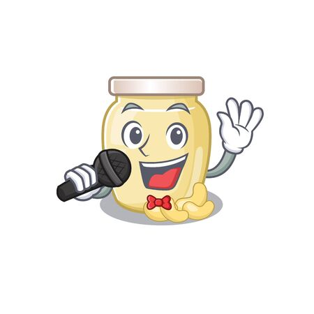 Happy cashew butter singing on a microphone