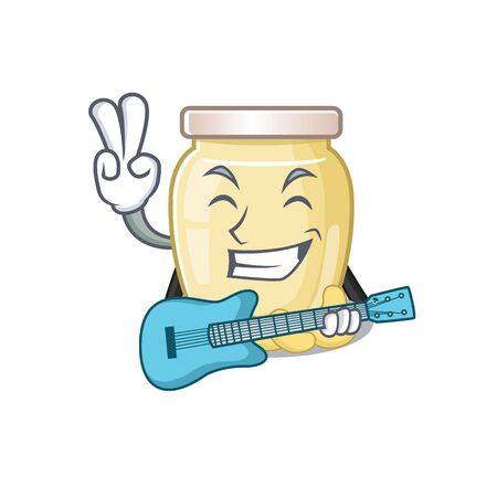 A picture of cashew butter playing a guitar. Vector illustration Illustration