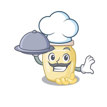 A picture of cashew butter as a Chef serving food on tray. Vector illustration