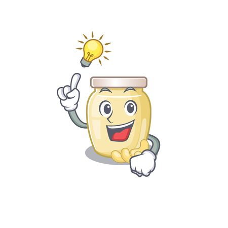 a clever cashew butter cartoon character style have an idea gesture