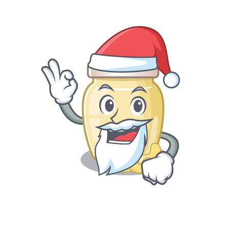 Cashew butter in Santa cartoon character style with ok finger. Vector illustration