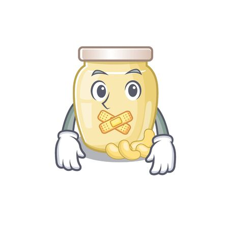 cartoon character design cashew butter making a silent gesture