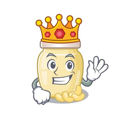A cartoon mascot design of cashew butter performed as a King on the stage 向量圖像
