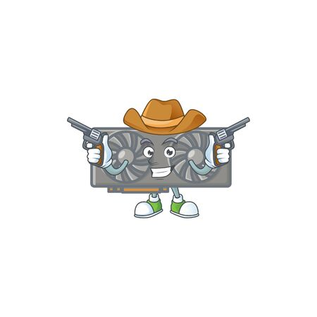 The brave of gaming VGA card Cowboy cartoon character holding guns. Vector illustration Illustration