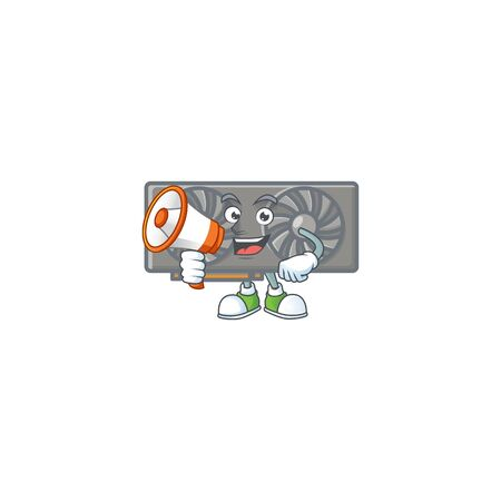 A chilly cartoon character of gaming VGA card with a megaphone. Vector illustration