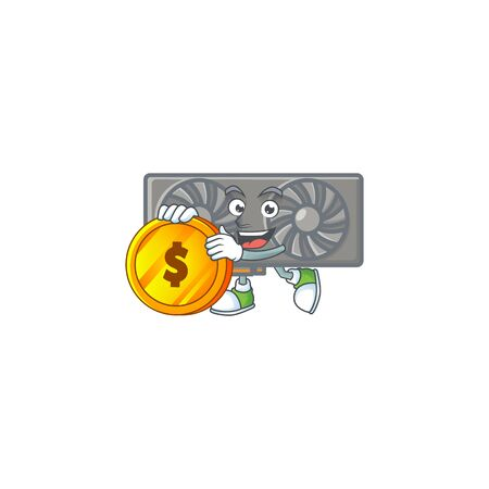 an elegant gaming VGA card mascot cartoon design with gold coin. Vector illustration