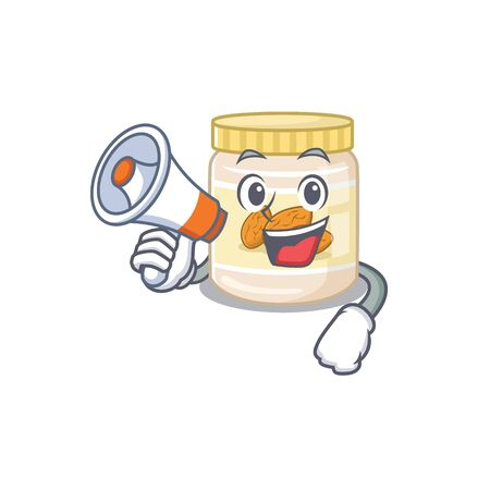 A mascot of almond butter speaking on a megaphone. Vector illustration 일러스트