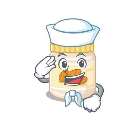 Almond butter cartoon concept Sailor wearing hat. Vector illustration