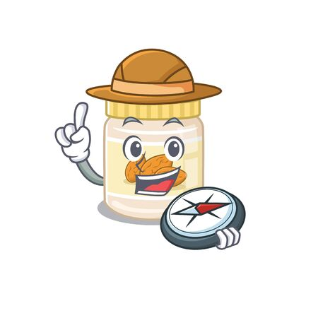 Almond butter experienced Explorer using a compass. Vector illustration