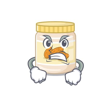 Almond butter cartoon character style having angry face. Vector illustration