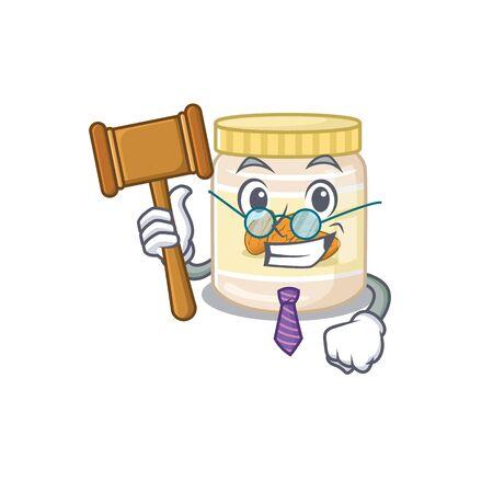 Smart Judge almond butter in mascot cartoon character style. Vector illustration Ilustrace