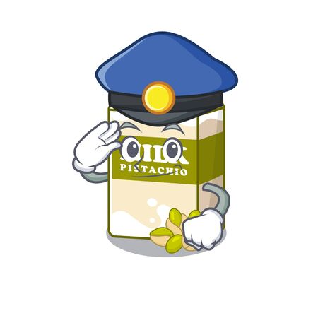 A manly pistachio milk Cartoon concept working as a Police officer. Vector illustration