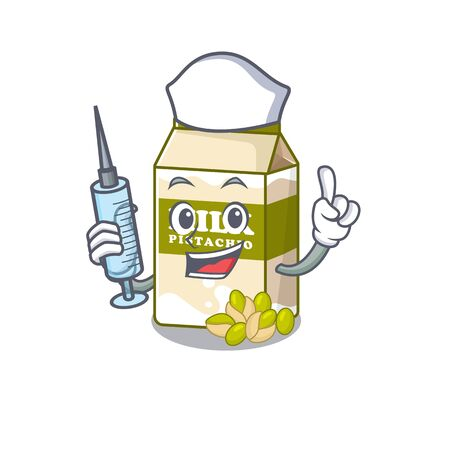 A pistachio milk hospitable Nurse character with a syringe. Vector illustration