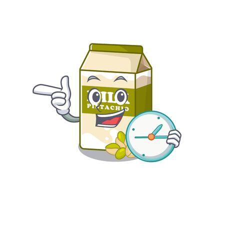 cartoon character concept pistachio milk having clock. Vector illustration
