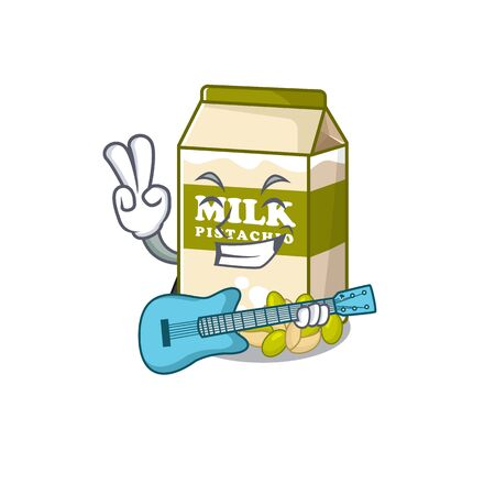A picture of pistachio milk playing a guitar. Vector illustration