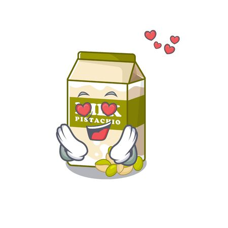Romantic falling in love pistachio milk cartoon character concept. Vector illustration