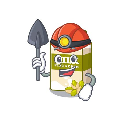 Cool clever Miner pistachio milk cartoon character design. Vector illustration Ilustração