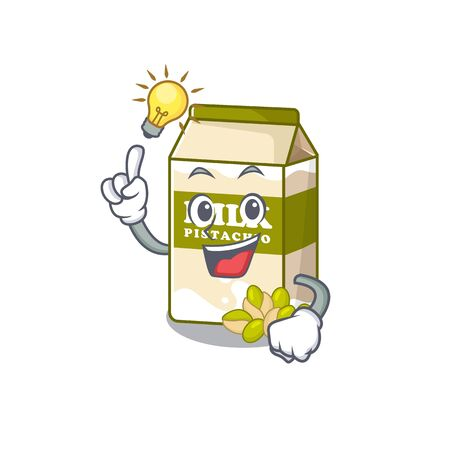 a clever pistachio milk cartoon character style have an idea gesture. Vector illustration