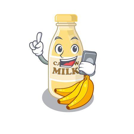 Cashew milk Cartoon design style speaking on a phone. Vector illustration