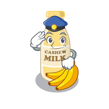 A manly cashew milk Cartoon concept working as a Police officer. Vector illustration