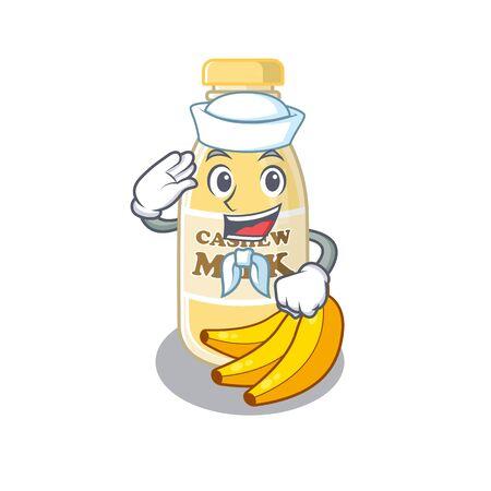 Cashew milk cartoon concept Sailor wearing hat. Vector illustration