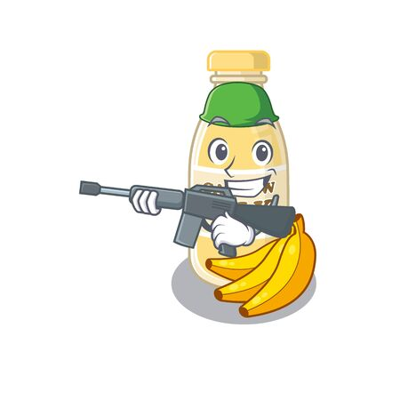 A cute picture of cashew milk Army with machine gun. Vector illustration