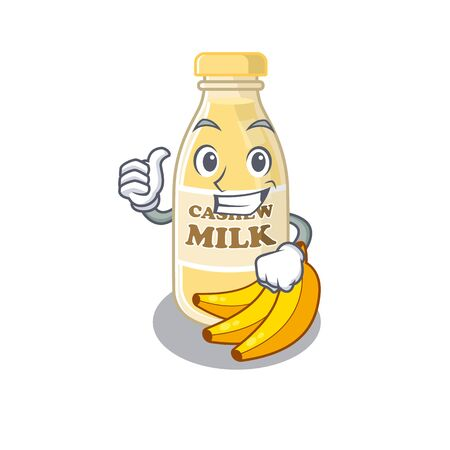 Funny cashew milk making Thumbs up gesture. Vector illustration