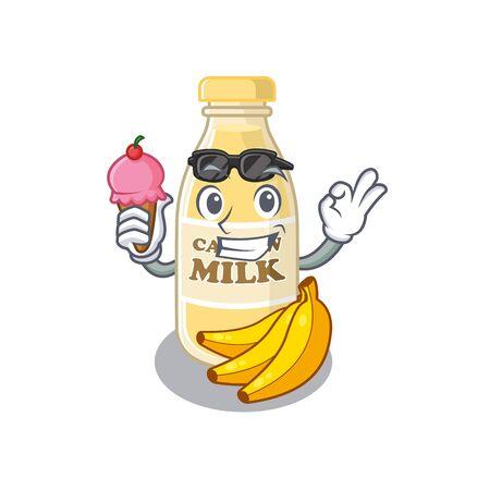 happy face cashew milk cartoon design with ice cream. Vector illustration