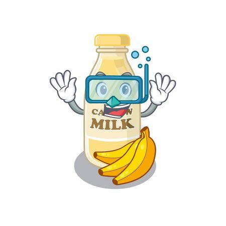 cartoon character of cashew milk wearing Diving glasses. Vector illustration