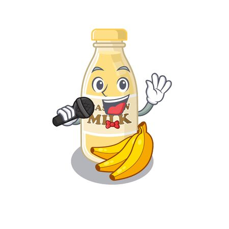 Happy cashew milk singing on a microphone. Vector illustration Stock Illustratie