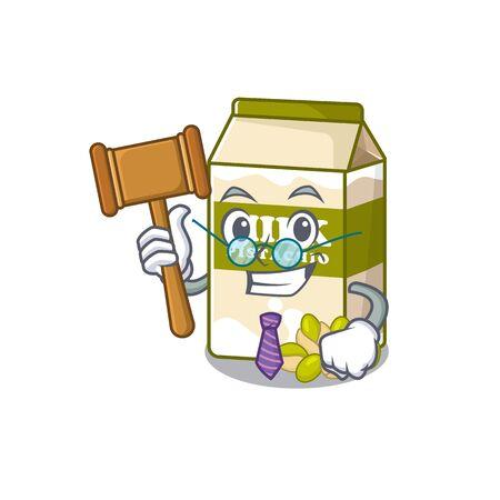 Smart Judge pistachio milk in mascot cartoon character style. Vector illustration