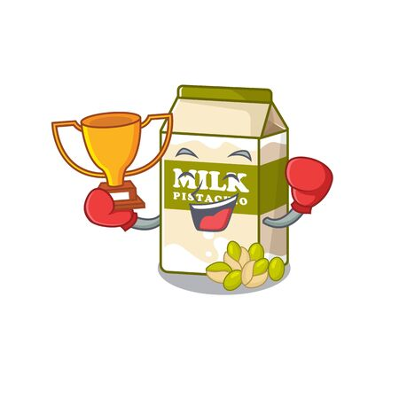 fantastic Boxing winner of pistachio milk in mascot cartoon design. Vector illustration