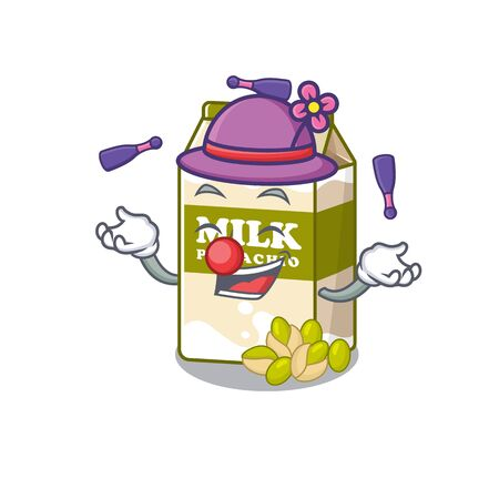 a lively pistachio milk cartoon character design playing Juggling. Vector illustration