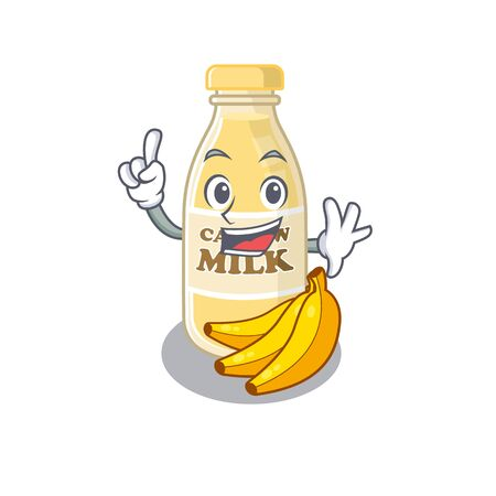 mascot cartoon concept cashew milk in One Finger gesture